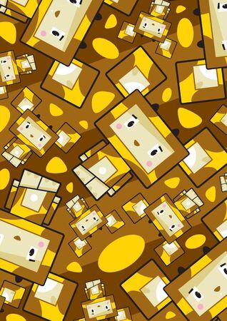 Cute Cartoon Block Giraffe Pattern