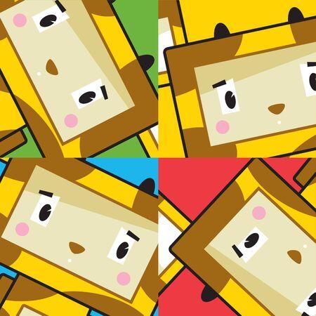 Cute Cartoon Block Giraffe Character  イラスト・ベクター素材