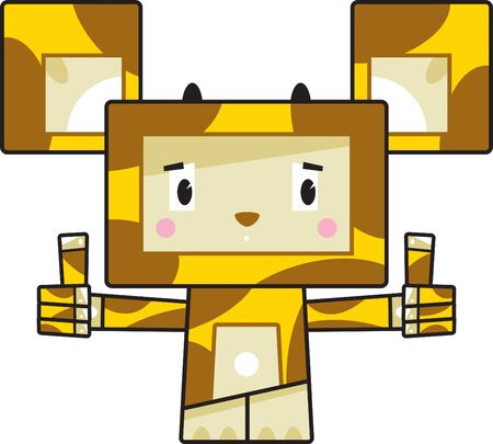Cute Cartoon Block Giraffe with Thumbs Up