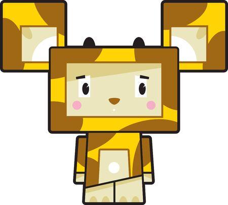 Cute Cartoon Block Giraffe Character Illustration
