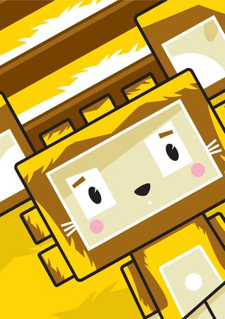 Cute Cartoon Block Lion Character