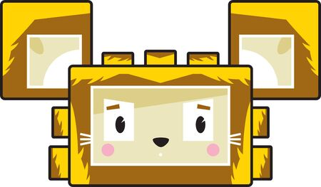 Cute Cartoon Block Lion Face