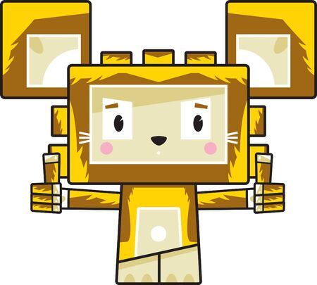 Cute Cartoon Block Lion with Thumbs Up Illustration