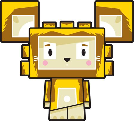 Cute Cartoon Block Lion Character