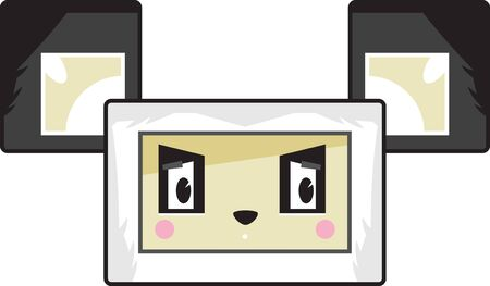 Cute Cartoon Block Panda Bear Face