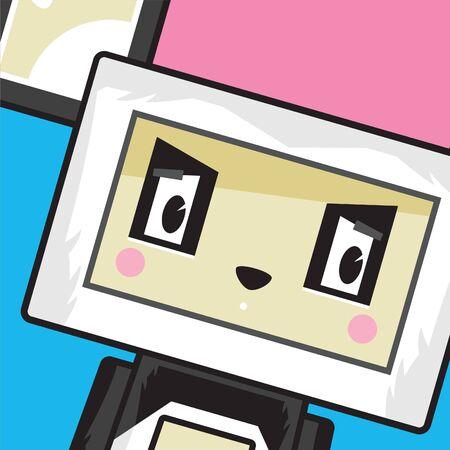 Cute Cartoon Block Panda Bear Character