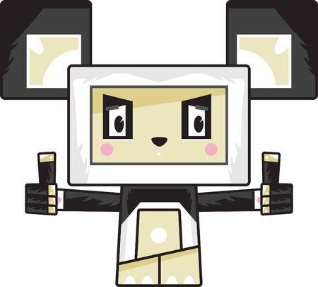 Cute Cartoon Block Panda Bear with Thumbs Up