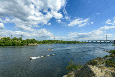 dnepr: Landscape of the river Dnepr and boats Stock Photo