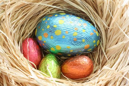 chocolate easter eggs in a nest photo