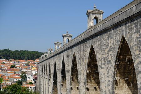 Portugal Lisbon Aqueduct arches over the Alcantara valley scenic view