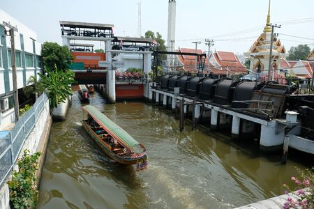Bangkok Thailand - water channels and lock system for ships and water taxi