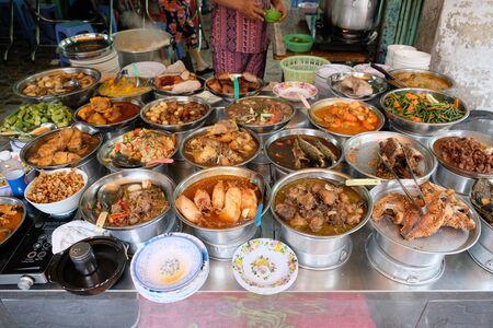 Saigon Vietnam - food seller Cong xa Paris Square Фото со стока