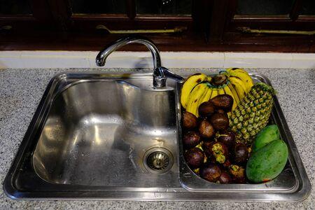 Batam Island Indonesia - local frueits in the kitchen sink
