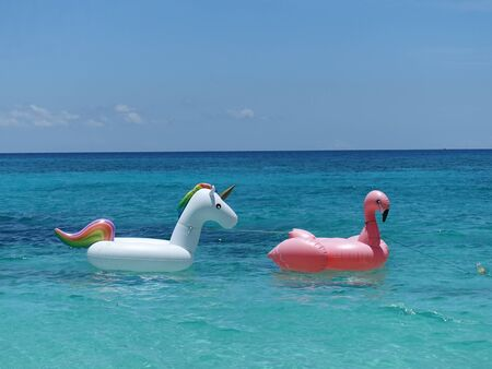 Boracay Philippines - Inflatable Swim Unicorn and Pelican swim ring