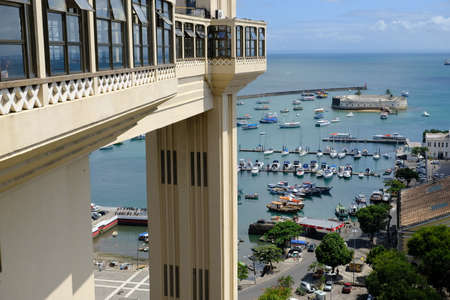 Salvador Bahia Brazil - The Lacerda Elevator with scenic view to Sao Marcelo Fort