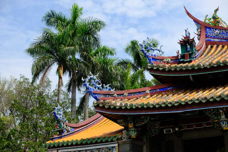 Taipei Taiwan - Confucius Temple artful roofs Stock Photo