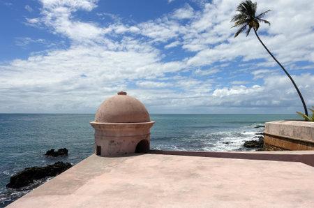 Brazil Morro de Sao Paulo - Outlook in Ponta do Facho fortress wall and coastal landscape