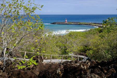 Ecuador Galapagos Islands - San Cristobal Hiking path and Viewpoint to Punta Carola beach with Lighthouse Faro Punta Carola