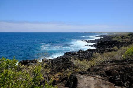 Ecuador Galapagos Islands - San Cristobal Island Scenic Coastline view with volcanic rocks