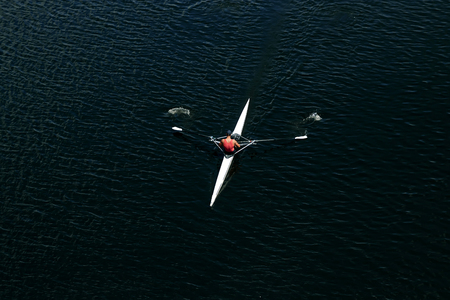 Kayak race view from above, concept competition, championship