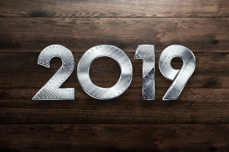 Creative background, Metal year two thousand nineteen, Happy new year 2019 , metallic text. copy space Imagens