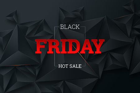 Black Friday sale poster. Commercial discount event banner. Black background. Banner, card, copy space. Mockup, layout. Creative background Imagens