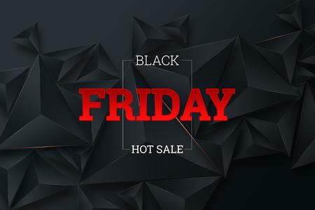 Manifesto di vendita del Black Friday. Banner evento sconto commerciale. Sfondo nero. Banner, carta, copia spazio. Modello, layout. Sfondo creativo