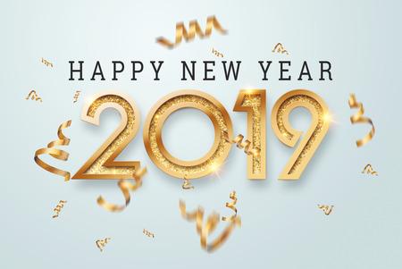 Creatief, nieuw ontwerp inscriptie 2019 gouden cijfers op een lichte achtergrond. Gelukkig nieuwjaar. Vrolijk kerstfeest.