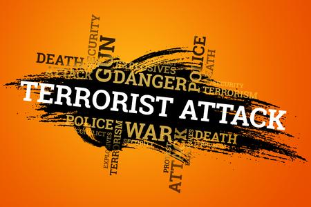 L'inscription terrorisme sur fond noir. Le concept d'arrêter la terreur, l'attaque terroriste, les explosions, a tenté.