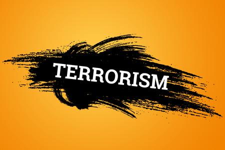 L'inscription terrorisme sur fond noir. Le concept d'arrêter la terreur, l'attaque terroriste, les explosions, a tenté. Banque d'images