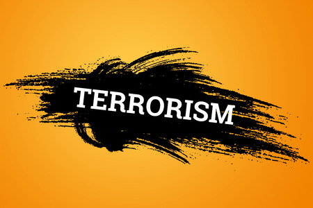 The inscription terrorism on a black background. The concept of stop terror, terrorist attack, explosions, attempted.