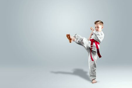 Creative background, a child in a white kimono makes a kick, on a light background. The concept of martial arts, karate, sports since childhood, discipline, first place, victory. copy space. Foto de archivo