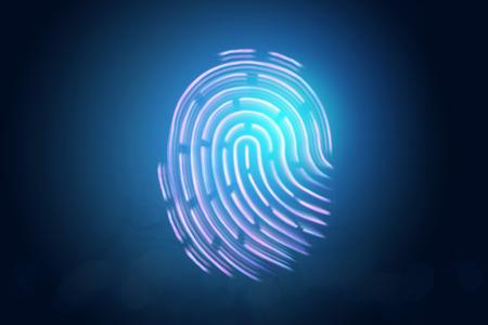 Futuristic hologram fingerprint, blue, ultraviolet. Concept of fingerprint, biometric, information technology and cyber security, technology, data protection. 3D illustration, 3D rendering. Stock Photo