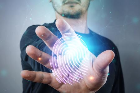 Holograma de huellas dactilares, escaneo de huellas dactilares de mano masculina. concepto de huella dactilar, biometría, tecnología de la información y ciberseguridad. Técnica mixta.