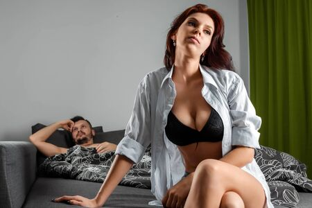 A couple in love has problems in bed, sex failure, apathy, relationship problems. The concept of impotence, male problems, problems with erection, lack of sex.