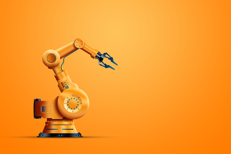 Robotization, industrial robot manipulator, orange on an orange background. The concept of a shortage of jobs, robots against people, the reduction of man, the industrial revolution. Stock Photo