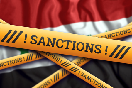 Creative background, inscription on the flag of Syria, sanctions, yellow fencing tape. The concept of sanctions, policies, conditions, requirements, trade wars. 3d rendering, 3d illustration