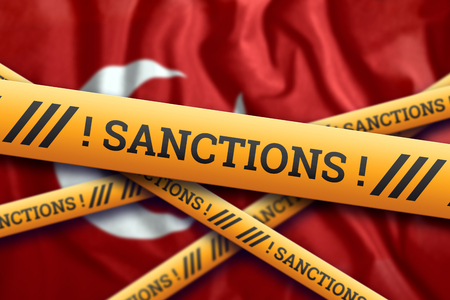 Creative background, the inscription on the flag of Turkey, sanctions, yellow fencing tape. The concept of sanctions, policies, conditions, requirements, trade wars. 3d rendering, 3d illustration Фото со стока