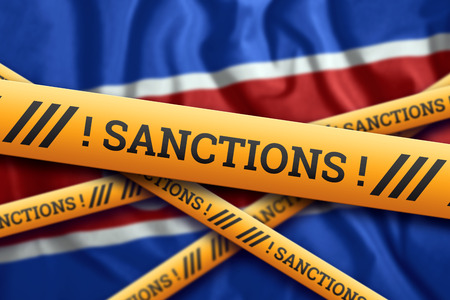 Creative background, the inscription on the flag of North Korea, sanctions, yellow fencing tape. The concept of sanctions, policies, conditions, requirements, wars. 3d rendering, 3d illustration