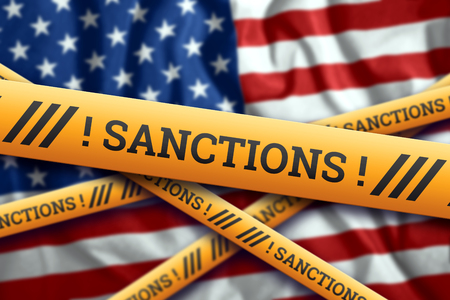 Creative background, inscription in American, USA, flag, sanctions, yellow fencing tape. The concept of sanctions, policies, conditions, requirements, trade wars. 3d rendering, 3d illustration