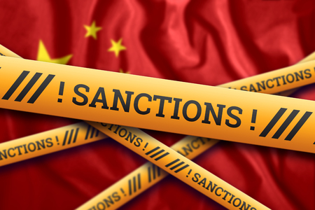 Creative background, the inscription on the flag of China, sanctions, yellow protective tape. The concept of sanctions, policies, conditions, requirements, trade wars. 3d rendering, 3d illustration Фото со стока