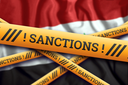 Creative background, inscription on the flag of Iraq, sanctions, yellow fencing tape. The concept of sanctions, policies, conditions, requirements, trade wars. 3d rendering, 3d illustration