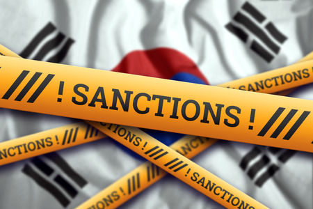 Creative background, the inscription on the flag of South Korea, sanctions, yellow fencing tape. The concept of sanctions, policies, conditions, requirements, wars. 3d rendering, 3d illustration