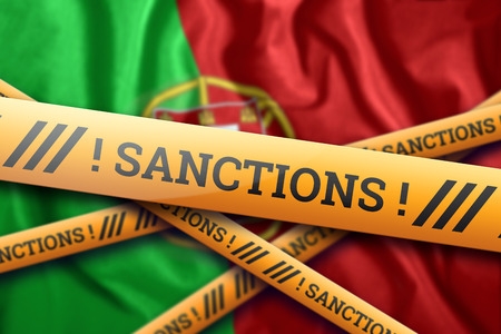 Creative background, the inscription on the flag of Portugal, sanctions, yellow protective tape. The concept of sanctions, policies, conditions, requirements, wars. 3d rendering, 3d illustration