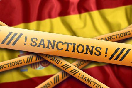 Creative background, inscription on the flag of Spain, sanctions, yellow fencing tape. The concept of sanctions, policies, conditions, requirements, trade wars. 3d rendering, 3d illustration