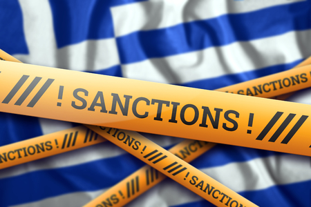 Creative background, inscription on the flag of Greece, sanctions, yellow fencing tape. The concept of sanctions, policies, conditions, requirements, trade wars. 3d rendering, 3d illustration
