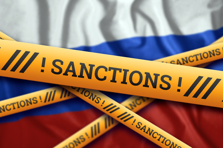 Creative background, the inscription on the Russian flag, sanctions, yellow fencing tape. The concept of sanctions, policies, conditions, requirements, trade wars. 3d rendering, 3d illustration Фото со стока