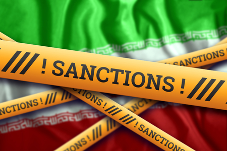 Creative background, inscription on the flag of Iran, sanctions, yellow fencing tape. The concept of sanctions, policies, conditions, requirements, trade wars. 3d rendering, 3d illustration