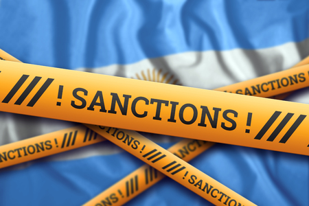 Creative background, the inscription on the flag of Argentina, sanctions, yellow fencing tape. The concept of sanctions, policies, conditions, requirements, trade wars. 3d rendering, 3d illustration