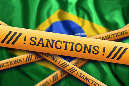 Creative background, inscription on the flag of Brazil, sanctions, yellow fencing tape. The concept of sanctions, policies, conditions, requirements, trade wars. 3d rendering, 3d illustration